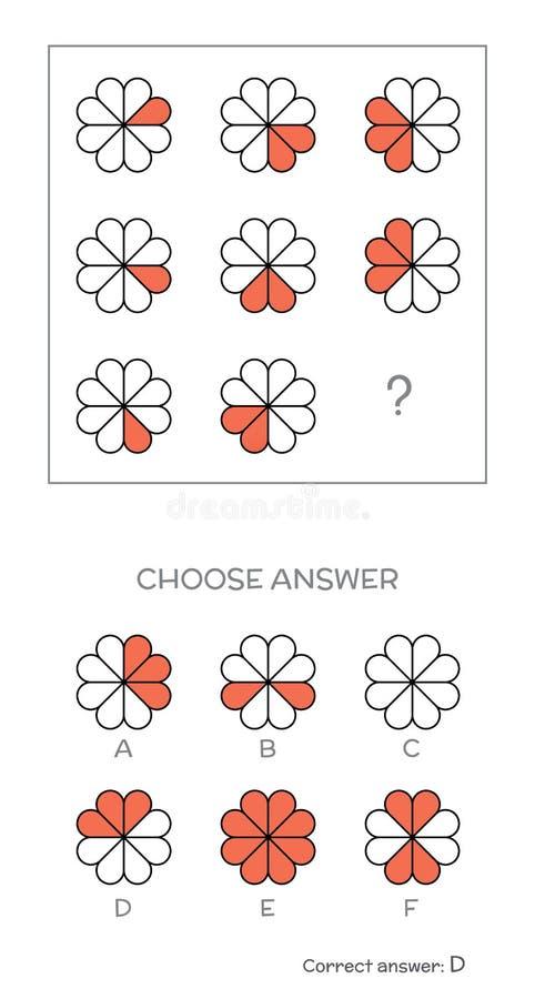Испытание IQ выбирает правильный ответ иллюстрация штока