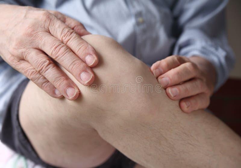 испытывать болячку человека колена стоковые фото