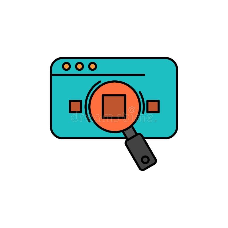 Исследование, аналитика, аналитика, данные, информация, поиск, значок цвета в Интернете Шаблон баннера значка вектора иллюстрация вектора