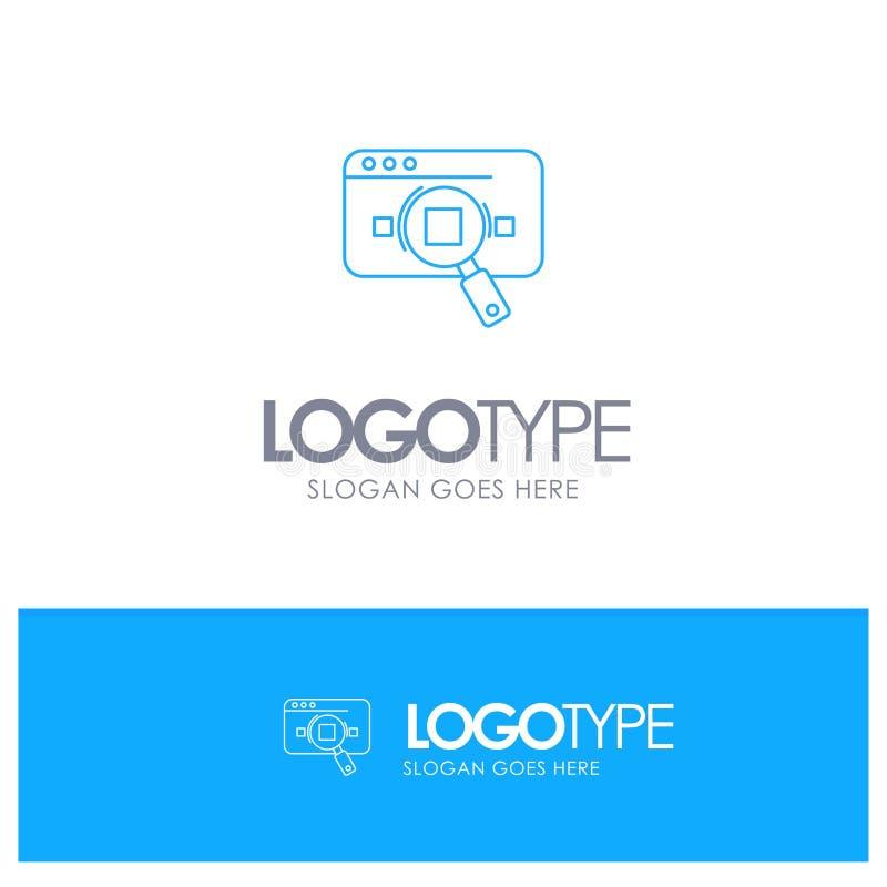 Исследование, аналитика, аналитика, данные, информация, поиск, логотип Web Blue outLine с местом для тега иллюстрация штока