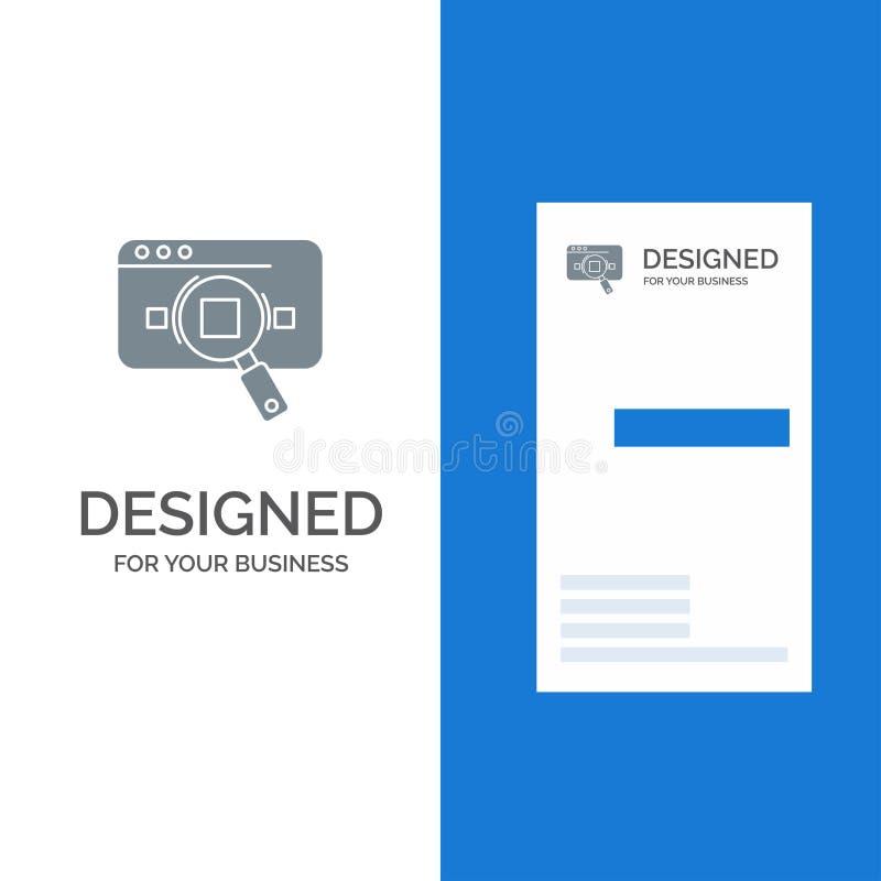 Исследование, аналитический, аналитик, данные, информация, поиск, дизайн логотипа сети серые и шаблон визитной карточки иллюстрация вектора
