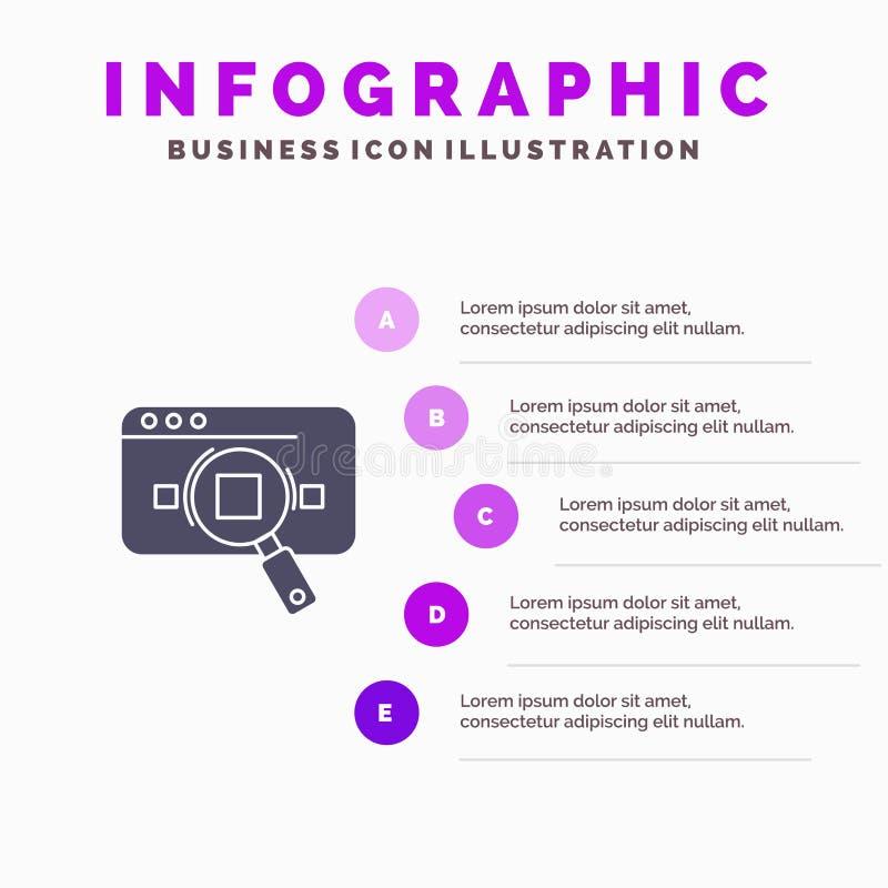 Исследование, аналитическое, аналитик, данные, информация, поиск, предпосылка представления шагов Infographics 5 значка сети твер иллюстрация вектора