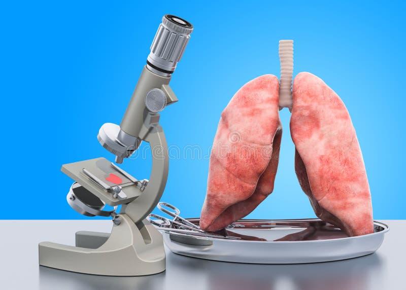 Исследование и диагностики концепции болезни легких Микроскоп с человеческими легкими, лаборатории перевод 3D бесплатная иллюстрация