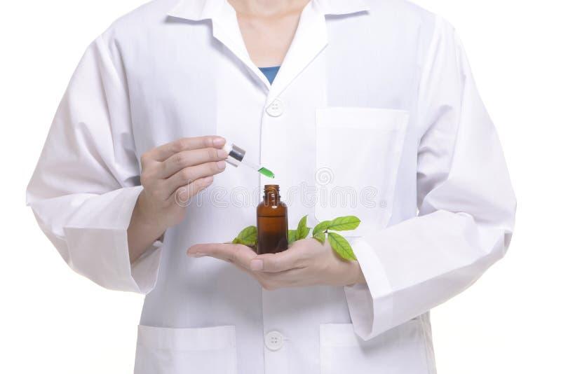 Исследование ученого и медицина исследования жидкостная от естественное травяного стоковые фото