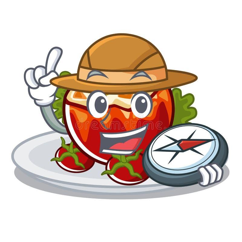 Исследователь заполнил томаты на доске мультфильма бесплатная иллюстрация