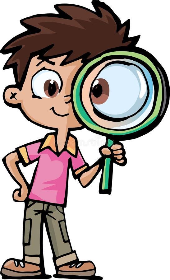 Исследователь мальчика с лупой иллюстрация вектора