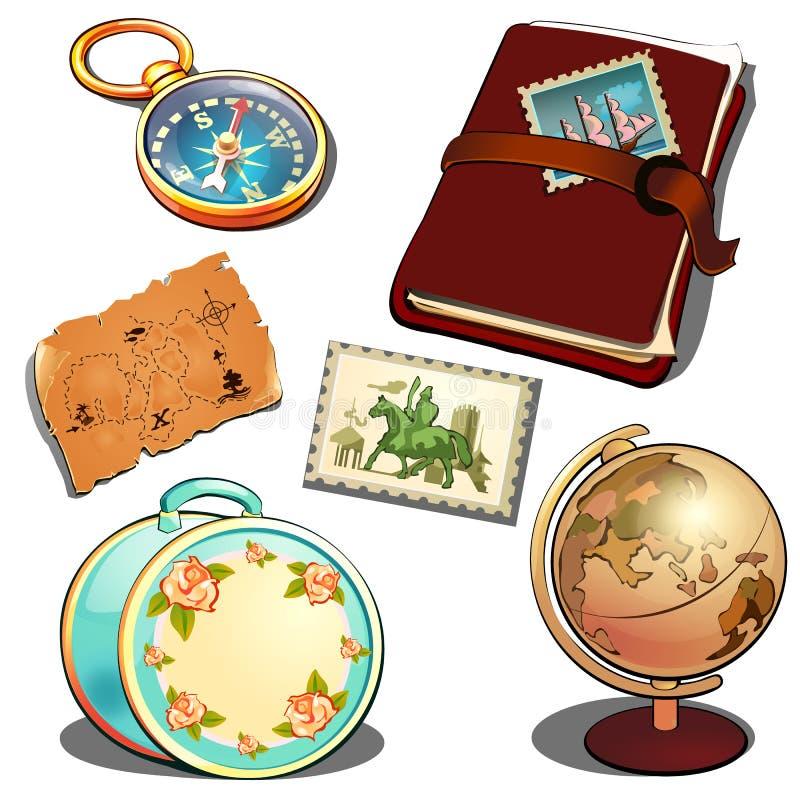 Исследователь матроса в винтажном стиле Глобус, дневник, карта, дамы путешествует чемодан, компас Комплект атрибутов путешественн иллюстрация вектора