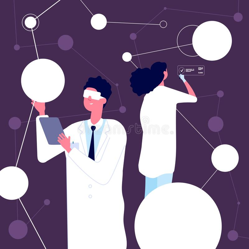 Исследователь-ученый человек в белом лабораторном халате проверяет структуру нейронов в нейробиологической лаборатории Научные ис бесплатная иллюстрация