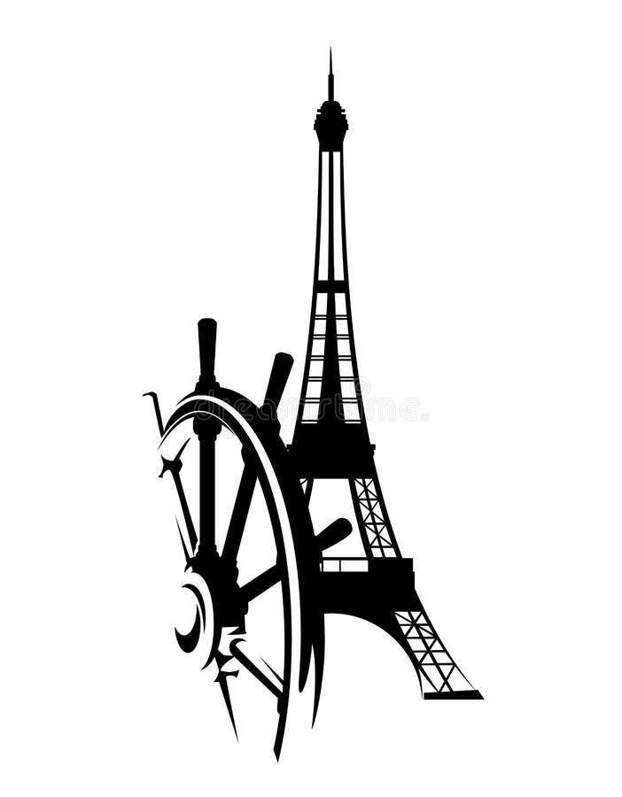 Исследуйте дизайн концепции вектора французского туризма черный бесплатная иллюстрация