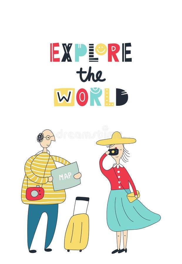Исследуйте мир - туристов в городе Человек с чемоданом смотрит карту Женщина рядом с ним видимости фотоснимков иллюстрация штока