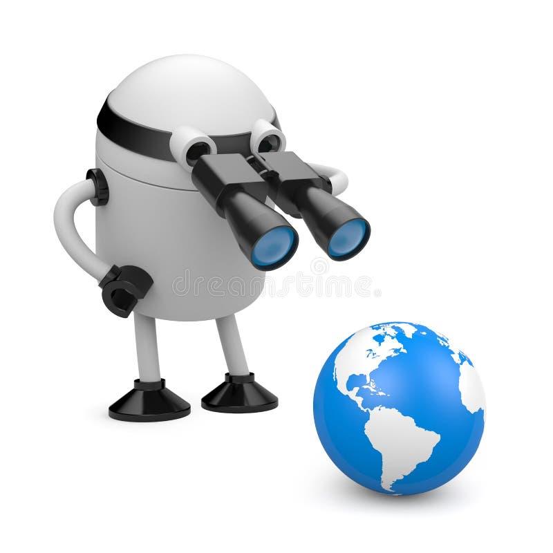 исследуйте робот глобуса иллюстрация штока