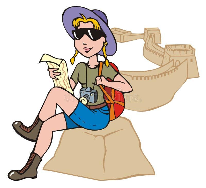 исследуя женский турист карты иллюстрация вектора