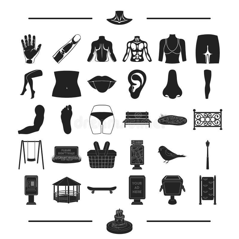 Исследование, остатки, медицина и другой значок сети в черном стиле сладость, структура, значки тела в собрании комплекта иллюстрация вектора