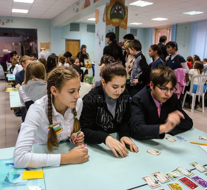 Исследуйте студентов семинара в городе Obninsk, зоны Kaluga, России стоковая фотография
