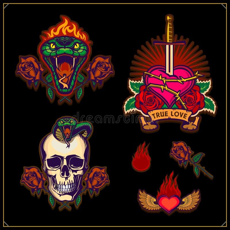 Истинная любовь любовь навсегда Эмблемы со шпагой, сердцем, черепом и зеленым агрессивным змеем с горя головой Дизайн татуировки  иллюстрация вектора