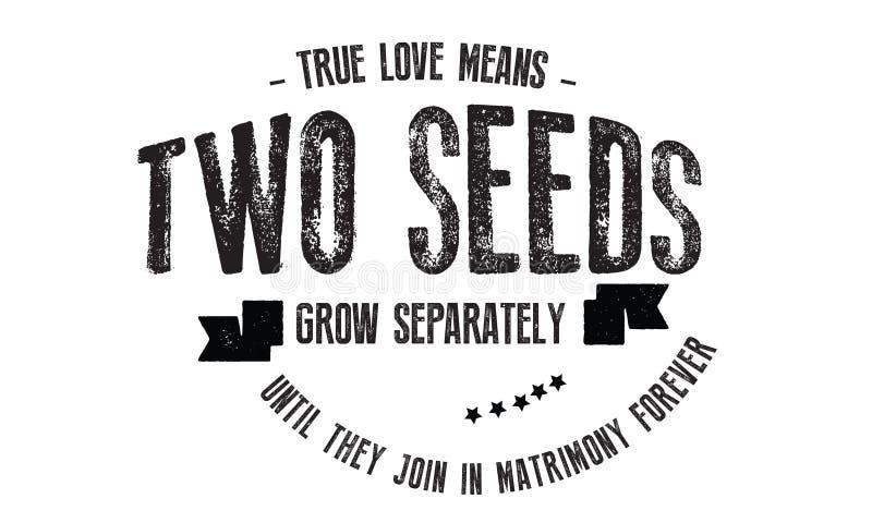 Истинные середины влюбленности 2 семени растут отдельно до тех пор пока они не будут соединять в супружестве навсегда иллюстрация вектора