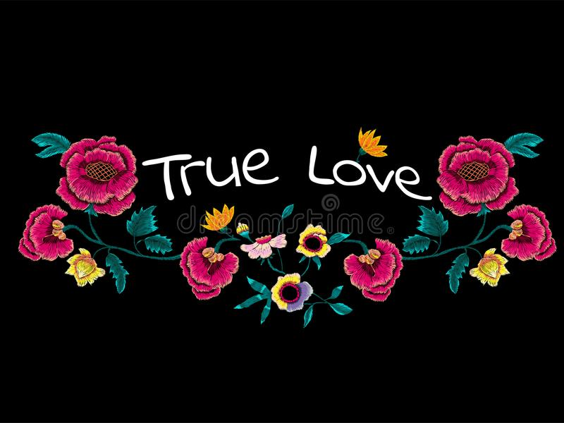 Истинный лозунг влюбленности с цветками вышивки для футболки и печать конструируют бесплатная иллюстрация