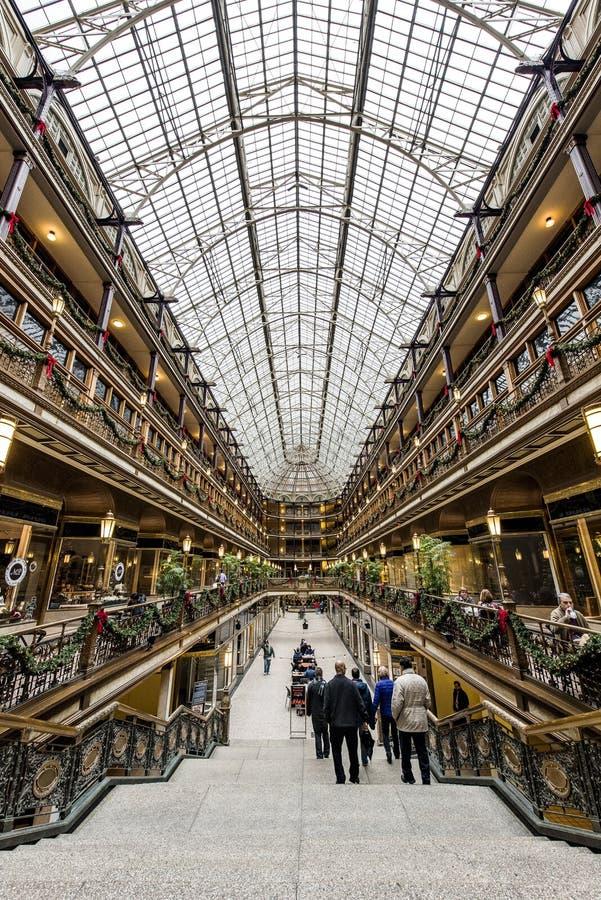 Историческая аркада Euclid - городской Кливленд, Огайо стоковые фотографии rf