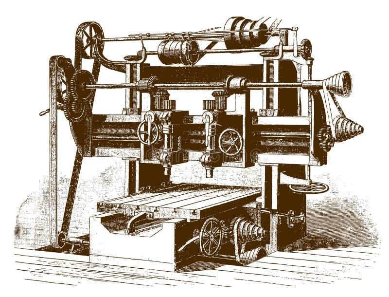 Историческая двойная закручивая филировальная машина бесплатная иллюстрация