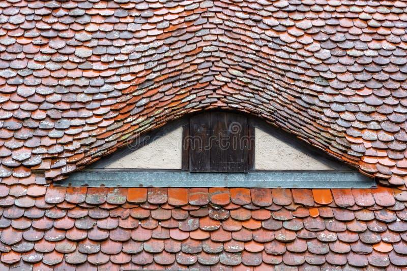 Историческая деталь крыши увиденная в der Tauber ob Ротенбург стоковая фотография rf