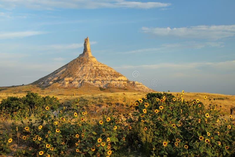 Историческая достопримечательность утеса камина национальная, западная Небраска, США стоковые фотографии rf