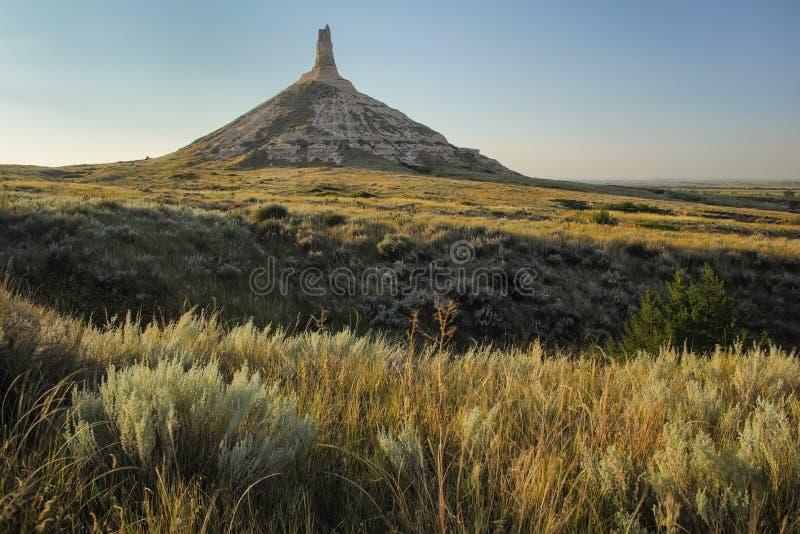 Историческая достопримечательность утеса камина национальная, западная Небраска, США стоковое фото rf