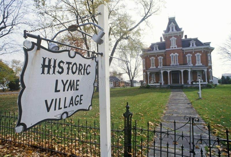 Историческая деревня Lyme в Bellevue, OH стоковое фото