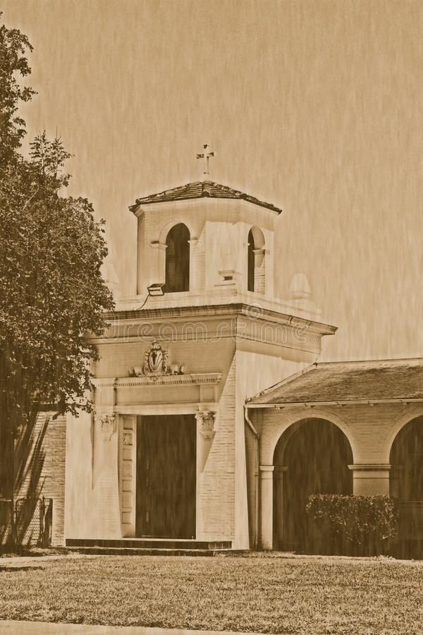 Историческая литография Refugio Техаса полета стоковые фотографии rf