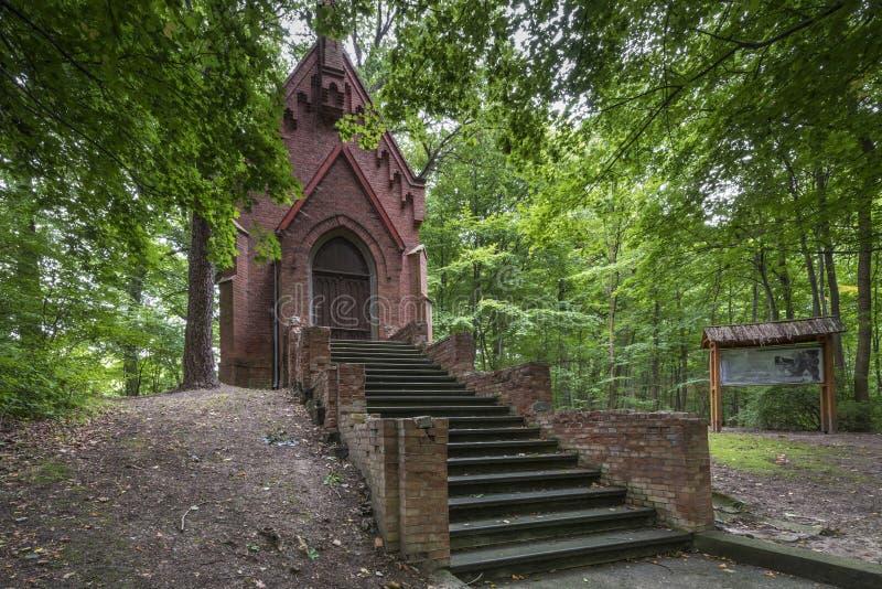 Историческая молельня в пуще, Tolkmicko, Польша стоковое фото rf