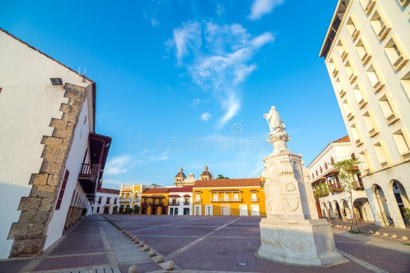 Историческая площадь в Cartagena, Колумбии стоковое фото