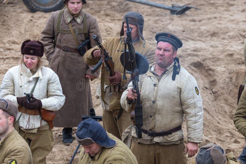 Историческая реконструкция сражения Второй Мировой Войны стоковые изображения rf