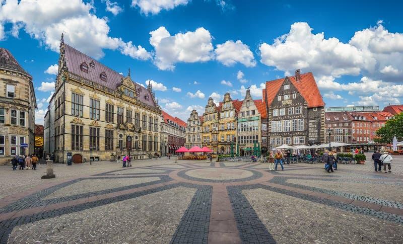 Историческая рыночная площадь Бремена в Hanseatic городе Бремене, Германии стоковое фото rf