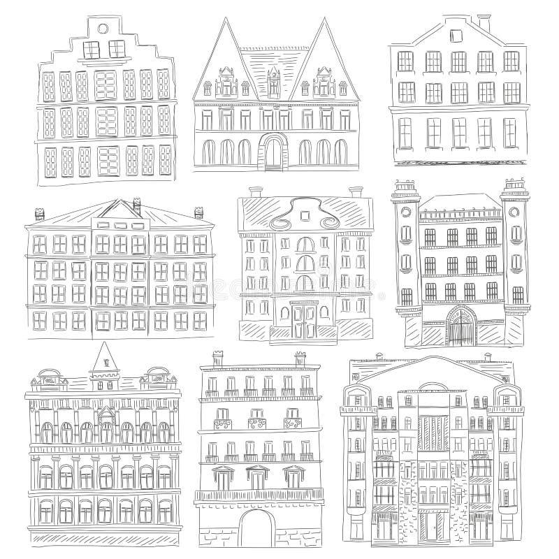 Историческая старая линия стиль зданий Комплект здания города плана старый Архитектурноакустический эскиз иллюстрация штока
