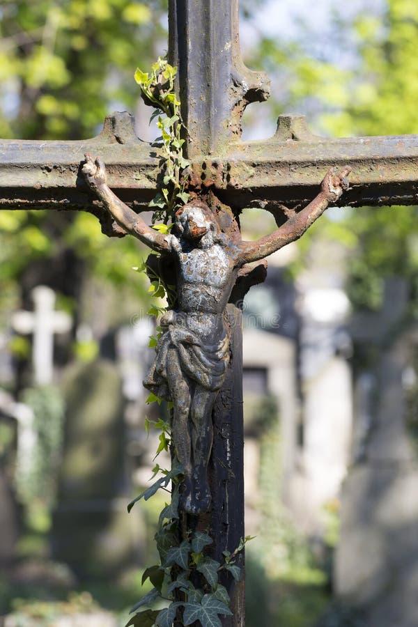 Историческая статуя на кладбище Праги тайны старом, чехия стоковые изображения rf