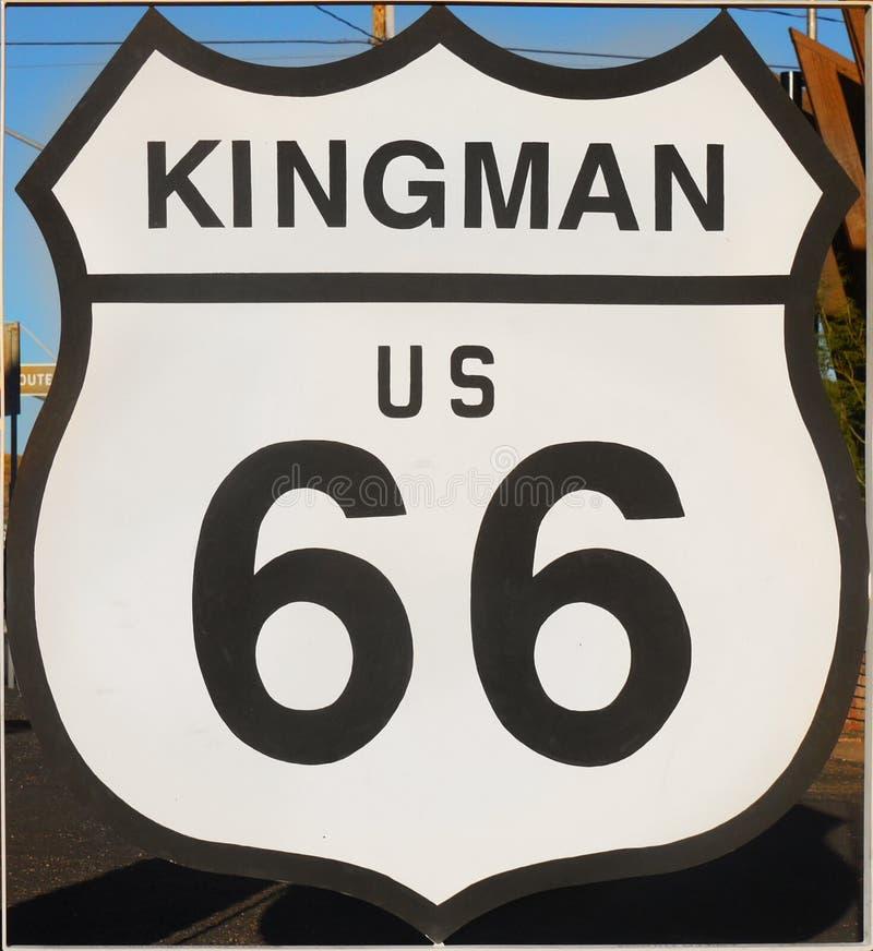 Историческая трасса 66, Kingman, знак, шоссе, Аризона США стоковые изображения rf