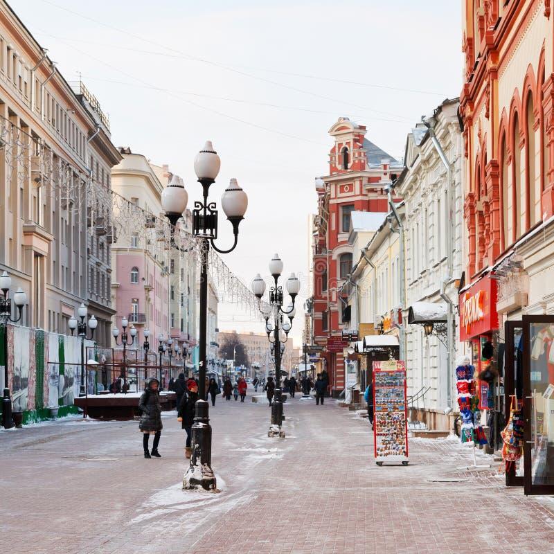 Историческая улица Arbat пешехода в Москве стоковое изображение rf
