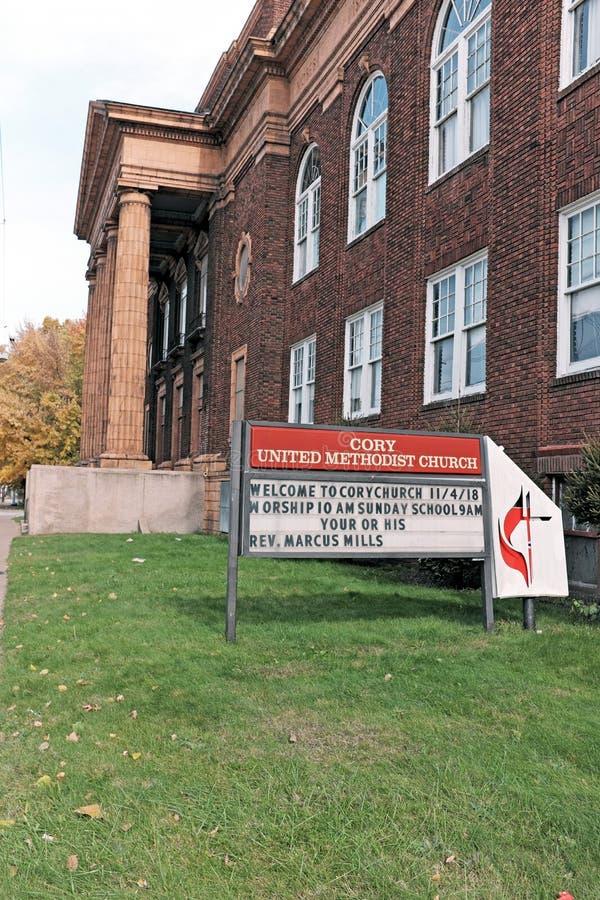 Историческая церковь Кори объединенная методист на восточное 55th в Кливленд, Огайо, США стоковые изображения