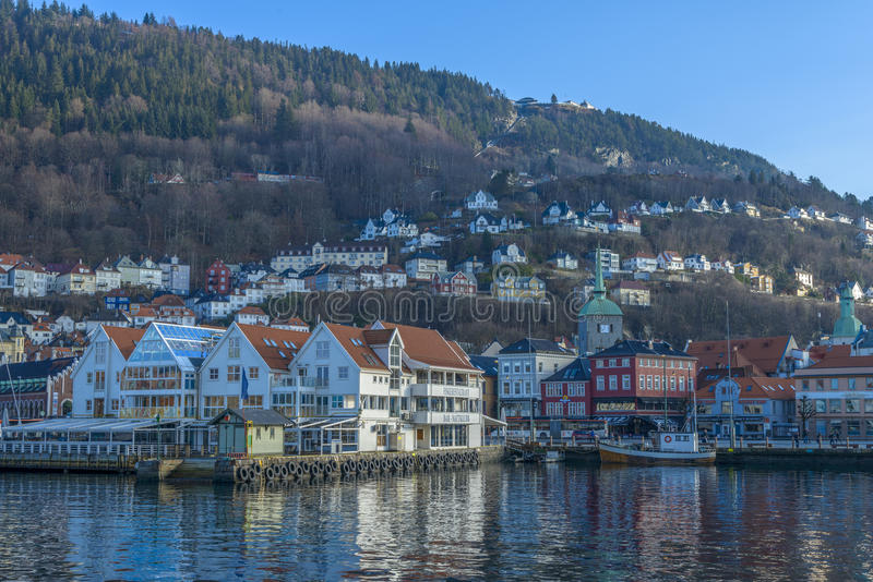 Исторические здания в городе Бергена, Норвегии стоковое фото