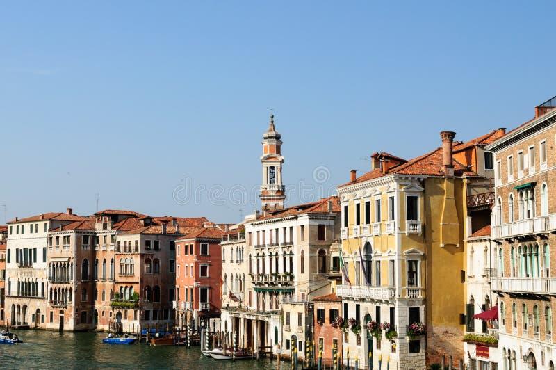 Исторические здания на грандиозном канале - Венеции стоковое фото rf