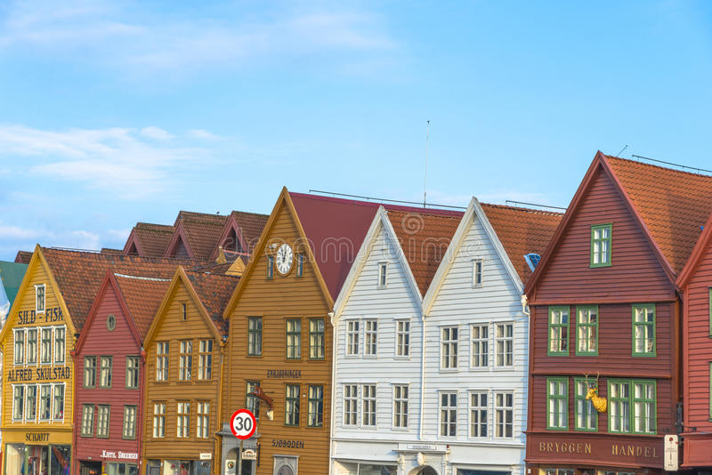 Исторические здания Bryggen в городе Бергена, Норвегии стоковая фотография