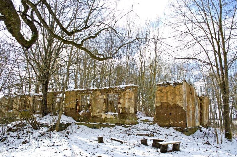Исторические руины имущества поместья в зиме стоковые изображения rf