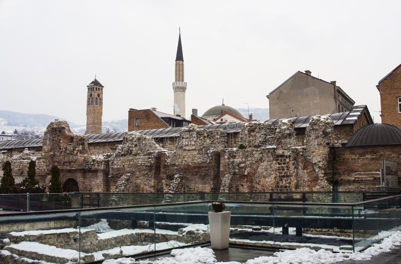 Исторические руины Taslihan, Сараево стоковое фото rf