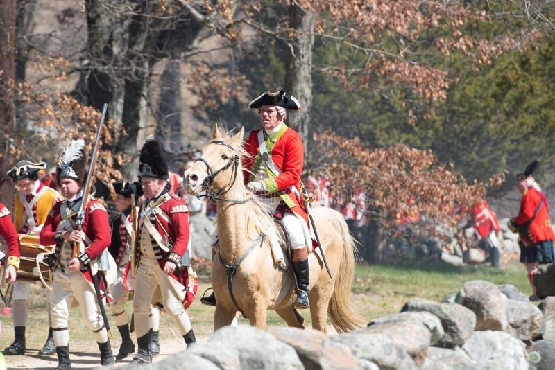 Исторические события в Lexington, МАМЫ Reenactment, США стоковые фото