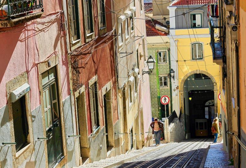 Исторические улицы Лиссабона, Португалия, стоковые фото