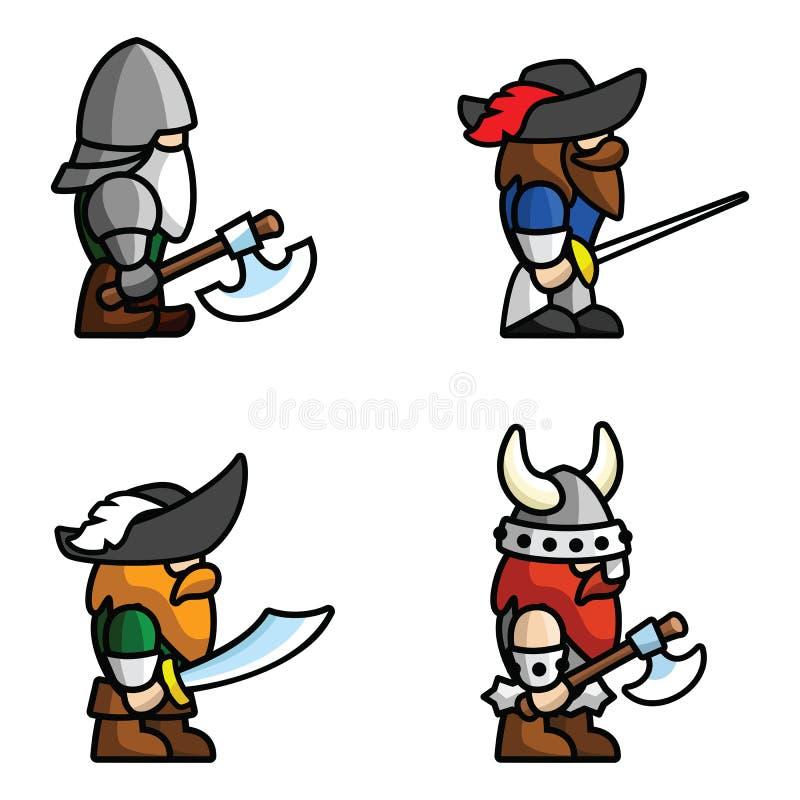 Исторические характеры сражения иллюстрация вектора