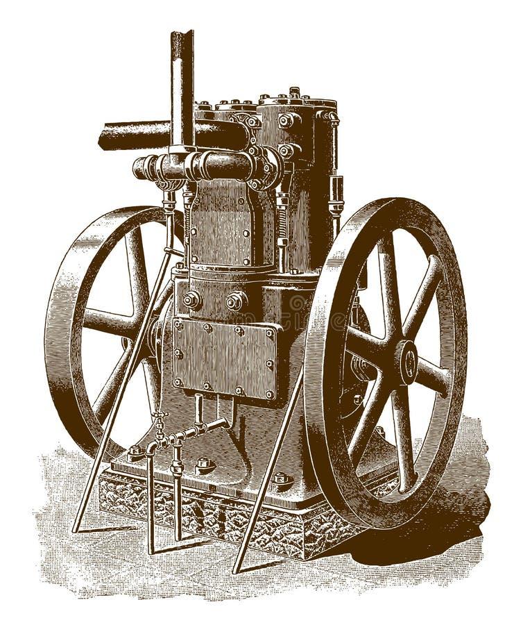 Исторический газовый двигатель иллюстрация штока