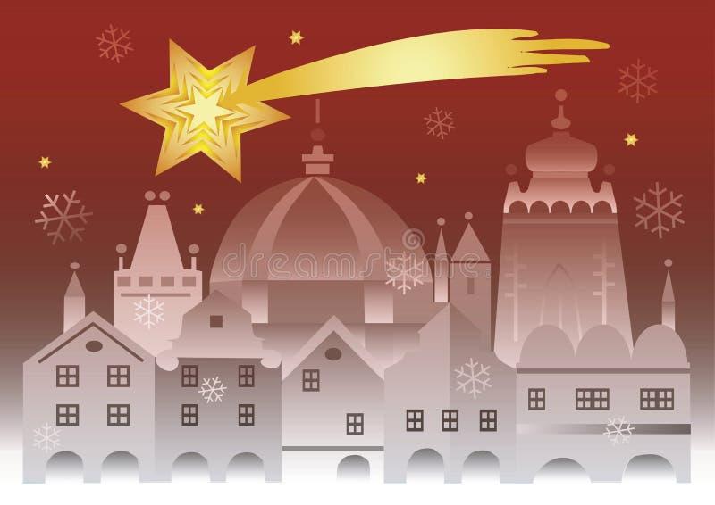 Исторический город рождества со звездой Вифлеема иллюстрация вектора