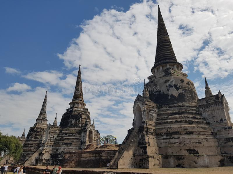 Исторический город Ayutthaya, Таиланда Wat Mahathat, Wat Phra Sri Sanphet, Wat Chaiwatthanaram, Ram Wat Phra стоковая фотография