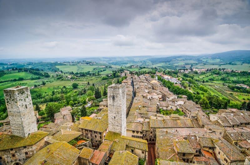 Исторический город San Gimignano в Италии, Тоскане стоковое фото rf