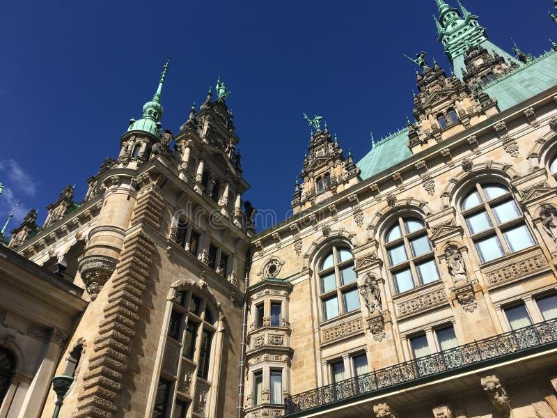 Исторический двор ратуши Гамбурга стоковая фотография